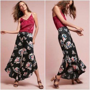 Elevenses | Black Floral Tansey Ruffle Pants